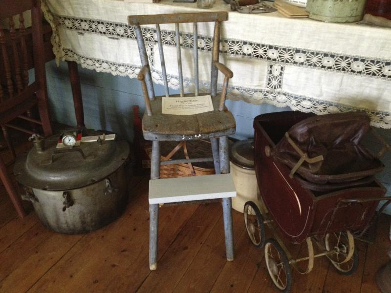 ... children's items on display at the Schoolhouse Museum in Lincolnville