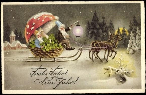 Wild mushrooms of the yuletide season at rockland library penbay pilot german elves on sleigh mushroom card m4hsunfo