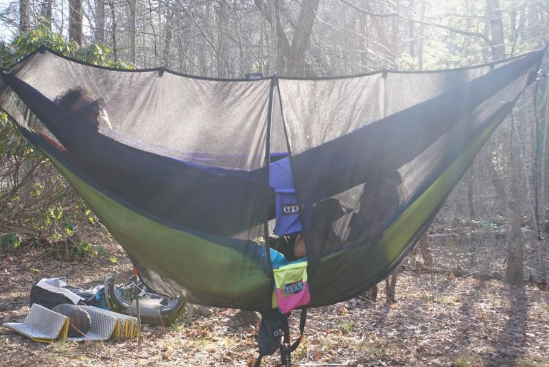 The bunk bed style hammocks was an interesting set up for sleeping at the  trail party. Although it looks neat the comfort level isn't too high. - Back On The Appalachian Trail PenBay Pilot
