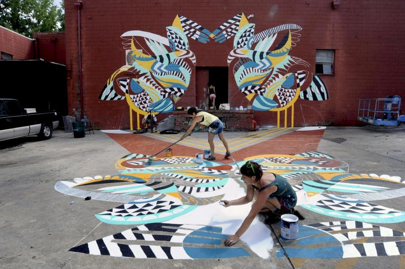 rockland create artists mural outdoor artist downtown youth professional alexis museum students piece katey jessie collaborate pictured local farnsworth courtesy