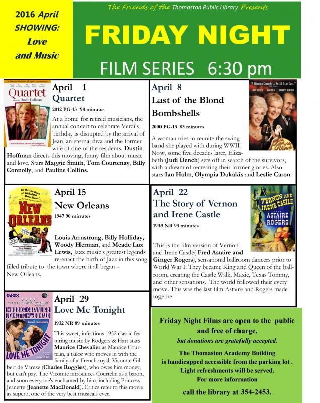 Thomaston Library Friday night film series | PenBay Pilot