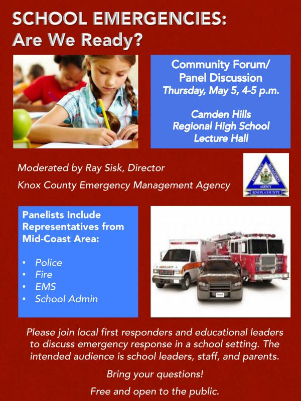 Invitation To Community Forum Panel Discussion School Emergencies