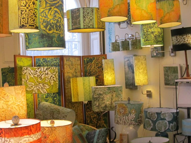 No shade here these handmade lampshades are stunning penbay pilot a studio and shop awash with light and color draws in people who just need to be there the wheel lampshade aloadofball Choice Image