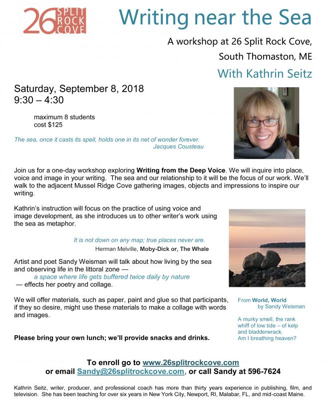 This Saturday - Writing Workshop on the Water | PenBay Pilot