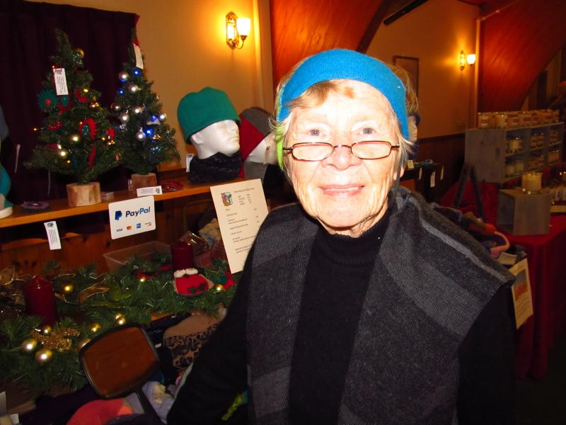 02a7223f73e Mary Alice Bird in one of her head warmer designs at the Festival of Lights  Craft Fair in Rockland. (Photo by Kay Stephens)