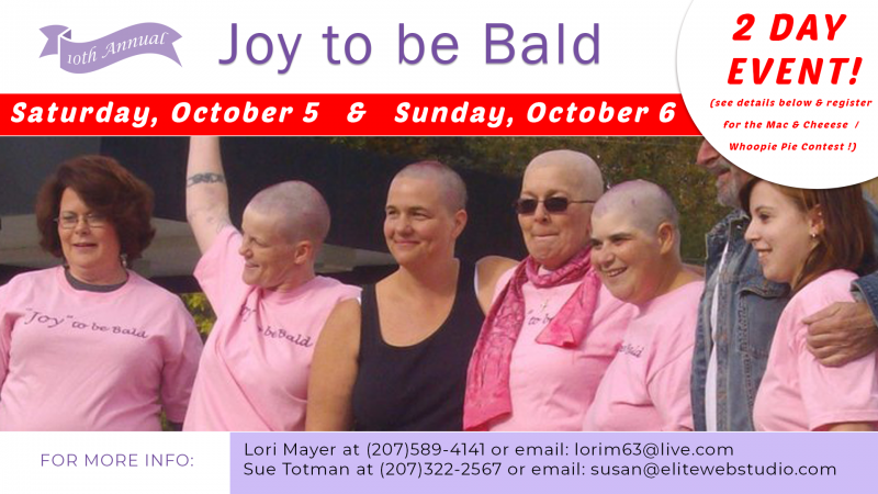 cancer fundraiser, joy to be bald, liberty, maine, waldo county, battling cancer