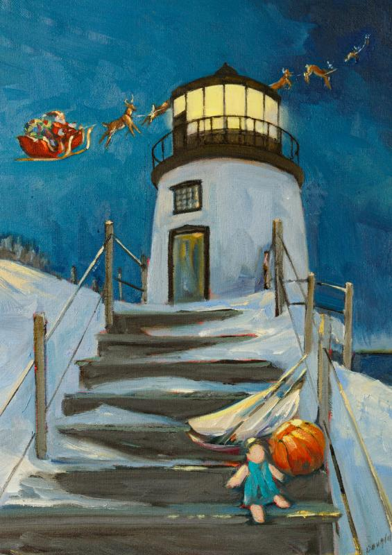 Rockport Christmas 2020 Rockport artist creates Owls Head Lighthouse Christmas cards to