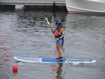 paddleboarding jousting contest, maine boats, homes and harbors