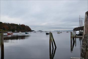 Rockport Harbor is quiet on Oct. 28. Dead calm. (Photo by Lynda Clancy)