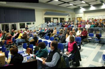 Roughly 200 people attended Monday night's public hearing on the proposed LPG facility. (Photo by Ethan Andrews)