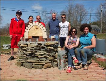 Building an oven in Waldoboro: Merideth Laliberte, Neil Lash, Genna Cherichello, Ray Laliberte, Lily Joslin, Kevin Felth, Brad Smeltzer