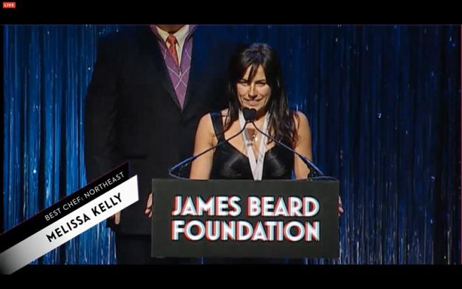 Melissa Kelly of Primo restaurant gives her acceptance speech after receiving the James Beard Foundation's Best Chef award at a gala in New York City, Monday. (Image: screen shot, jamesbeard.org)