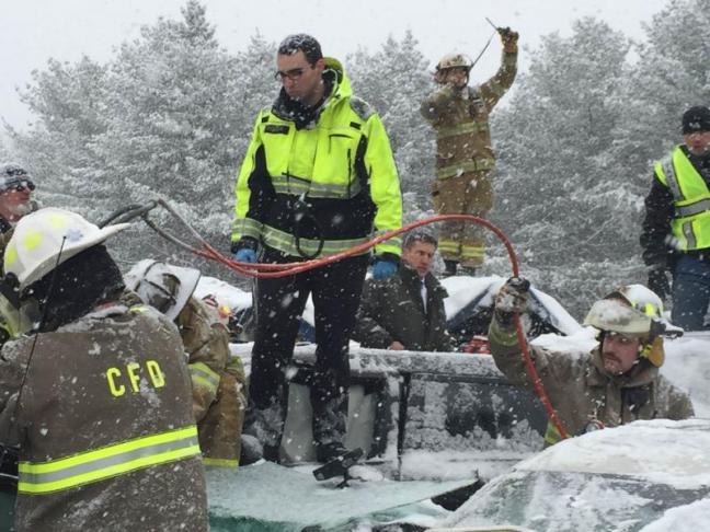 Hermon Fire Capt Chandler Corriveau Helps Direct