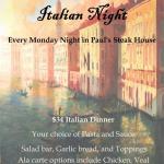Paul's Steakhouse Italian Night Dining