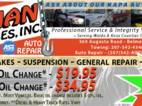 general auto repair, brake repair, exhaust repair, 23-1/2 Hour towing, Waldo County auto repair, Belfast Maine auto repair, alignments, struts and shocks